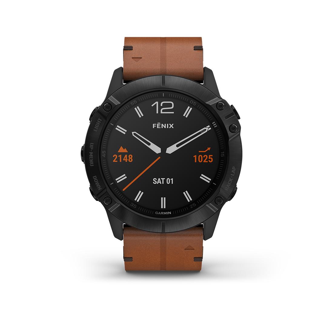 FENIX 6X SAPPHIRE Schwarz DLC Saphirglas mit QUICKFIT-Leder-Armband 26mm Braun + Silikon-Armband Schwarz