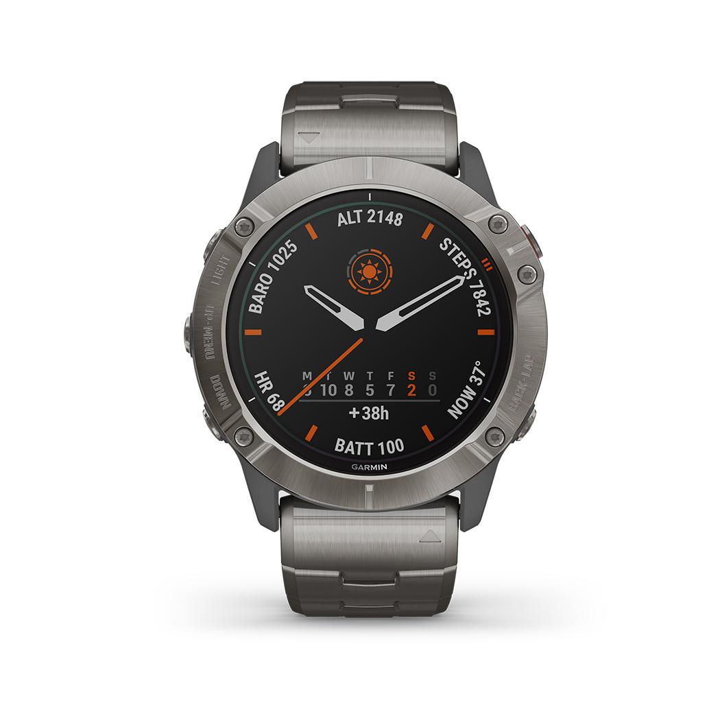 FENIX 6X PRO SOLAR Grau/Titan Titan-Luenette mit QUICKFIT-Titan-Armband 26mm + Silikon-Armband Orange