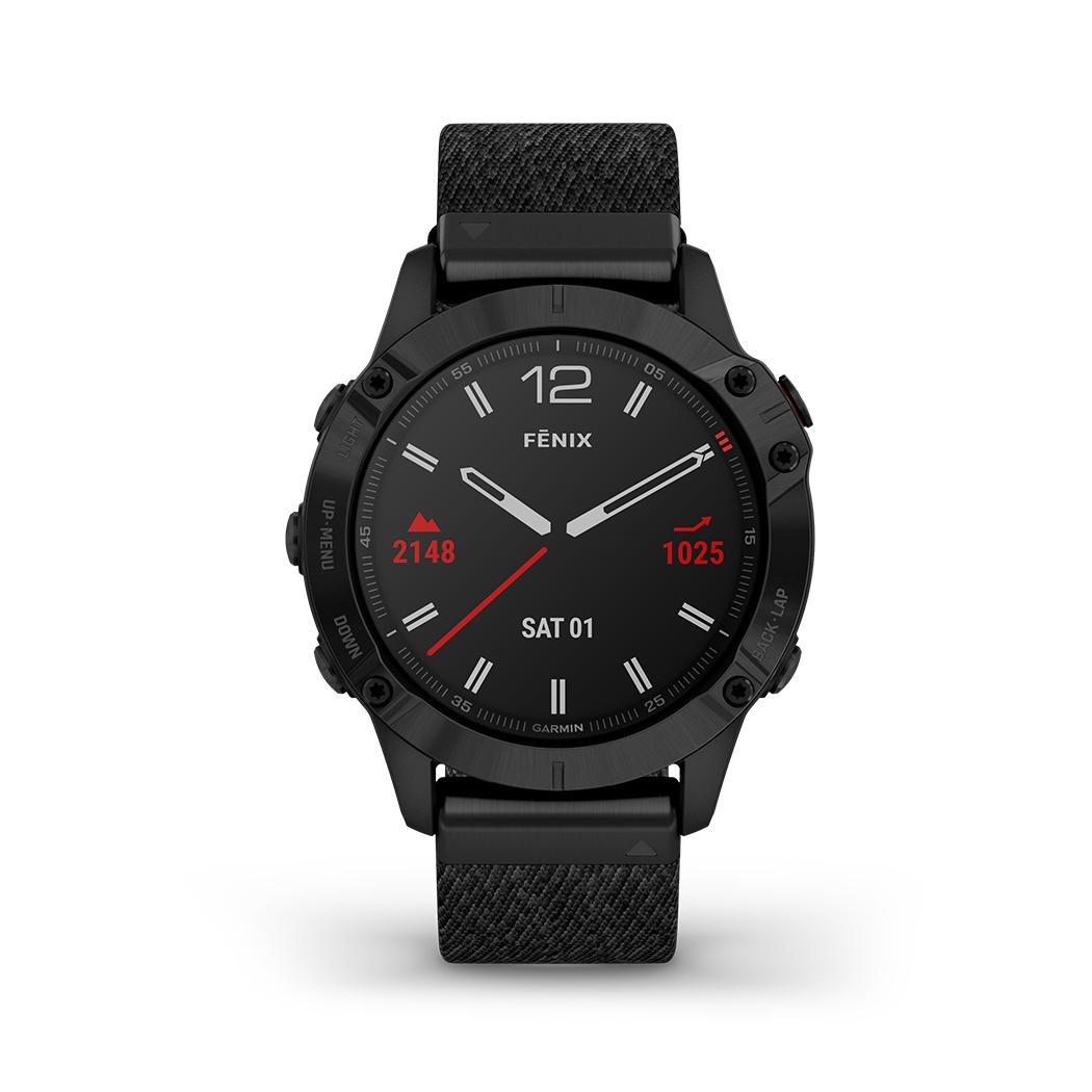 FENIX 6 SAPPHIRE Schwarz DLC Saphirglas mit QUICKFIT-Nylon-Armband 22mm Schwarz + Silikon-Armband Schwarz