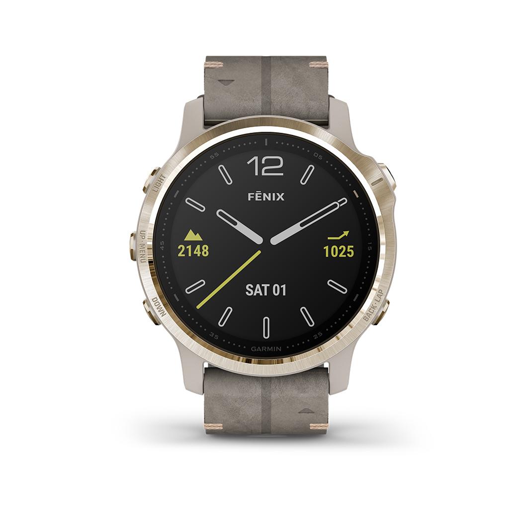 FENIX 6S SAPPHIRE Beige/Weissgold Saphirglas mit QUICKFIT-Velourleder-Armband 20mm Grau + Silikon-Armband Grau